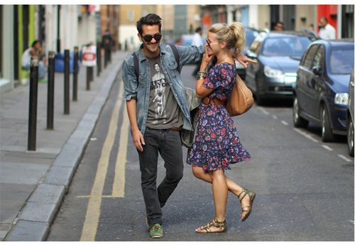/: Street Fashion, Fashion Couple, Couple Outfit, Men Style, Street Style, Flower Dresses, Cities Street, Men Fashion, The Dresses