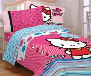 hello kitty twin bed sheet set and blanket