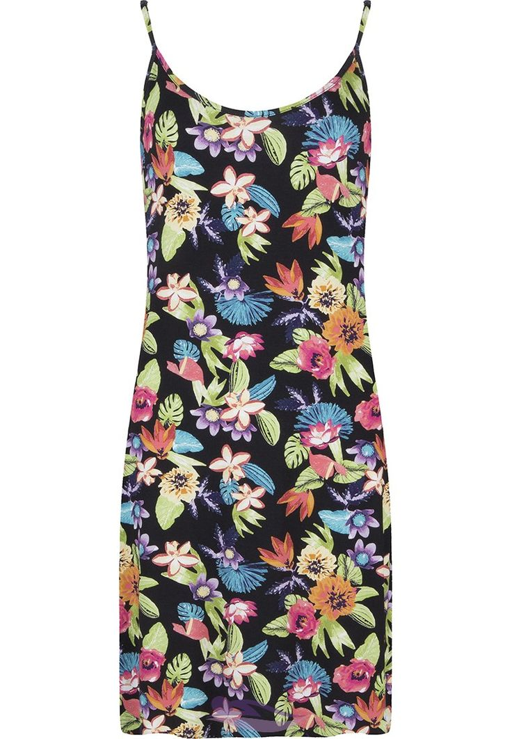 Pastunette Beach 'Hawaiian Tropical Flowers' black floral beach strappy dress