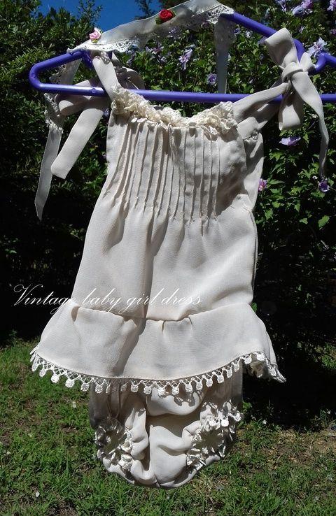 Kincső -   újszülött fotózási ruha, vintage stílusú felső pelenka takaró és fejpánt (MamaBaba) - Meska.hu