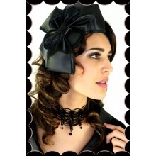 Black Satin Bow Fascinator - $49.00