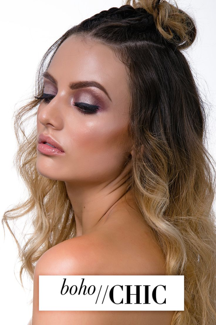 modern boho chic hair and makeup style