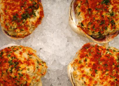 Baked Stuffed Clams -- (I'm gonna precook the clams til they open ...