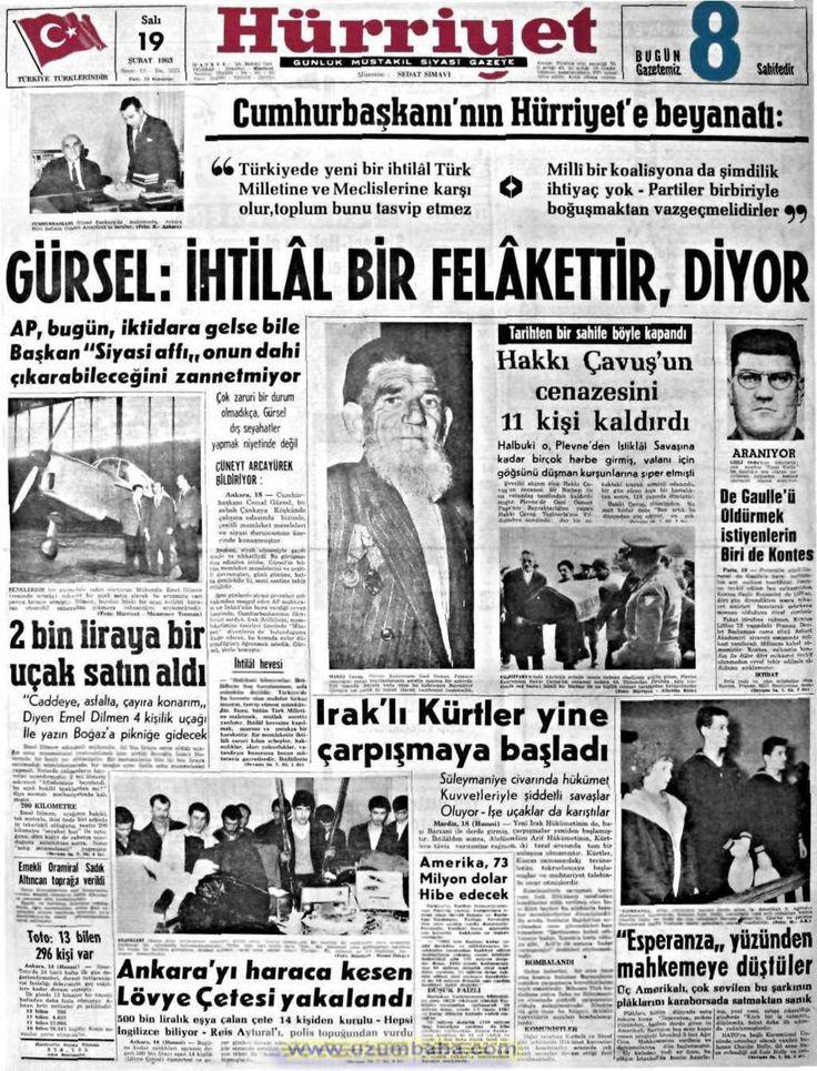 Hürriyet gazetesi 19 şubat 1963