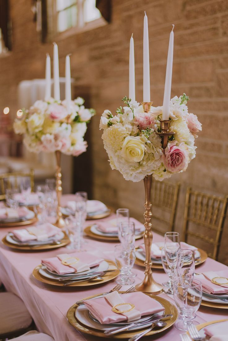 A Soft And Glamorous Pink Cream And Gold Table Setting Pink And Gold Wedding Pink Wedding Inspiration Gold Wedding Theme