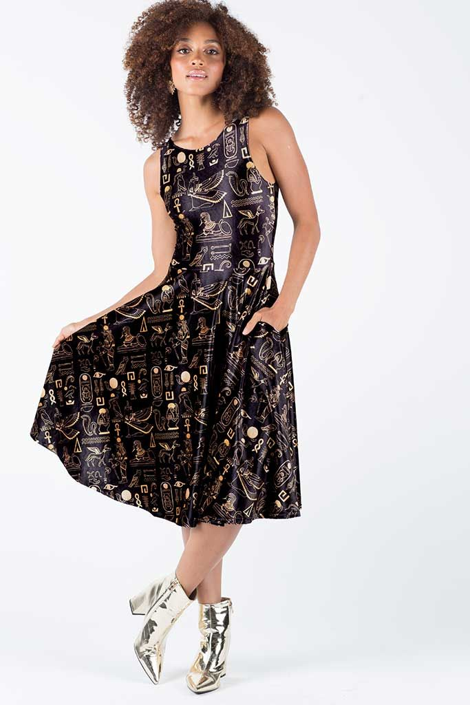 Hieroglyphics Gold Velvet Princess Midi Dress – 7 DAY UNLIMITED ($130AUD) by BlackMilk Clothing