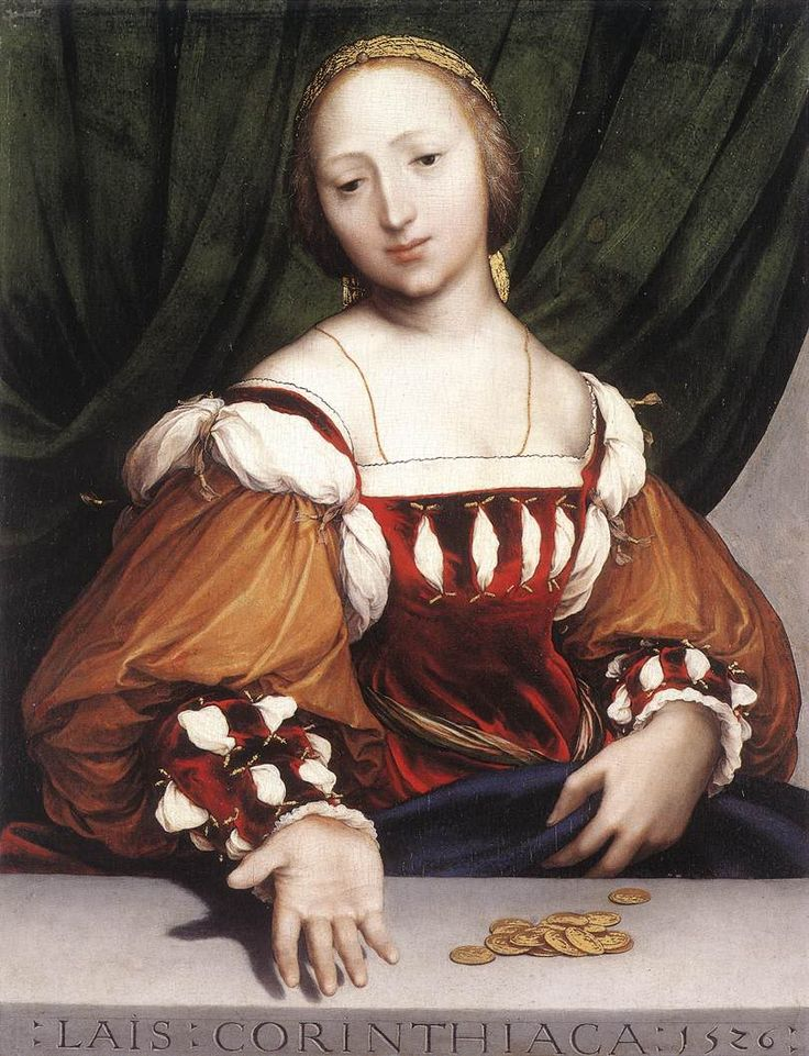 Lais Corinthiaca 1526 Hans Il Giovane Holbein (the Younger)(German 1497-1543) Northern Renaissance Painter. Wonderful bodice and sleeves