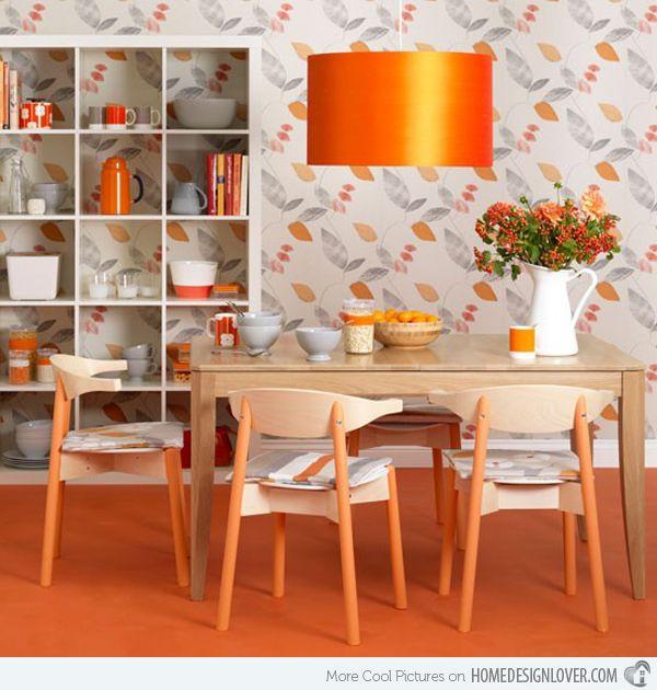 Catchy Orange Dining Room Designs