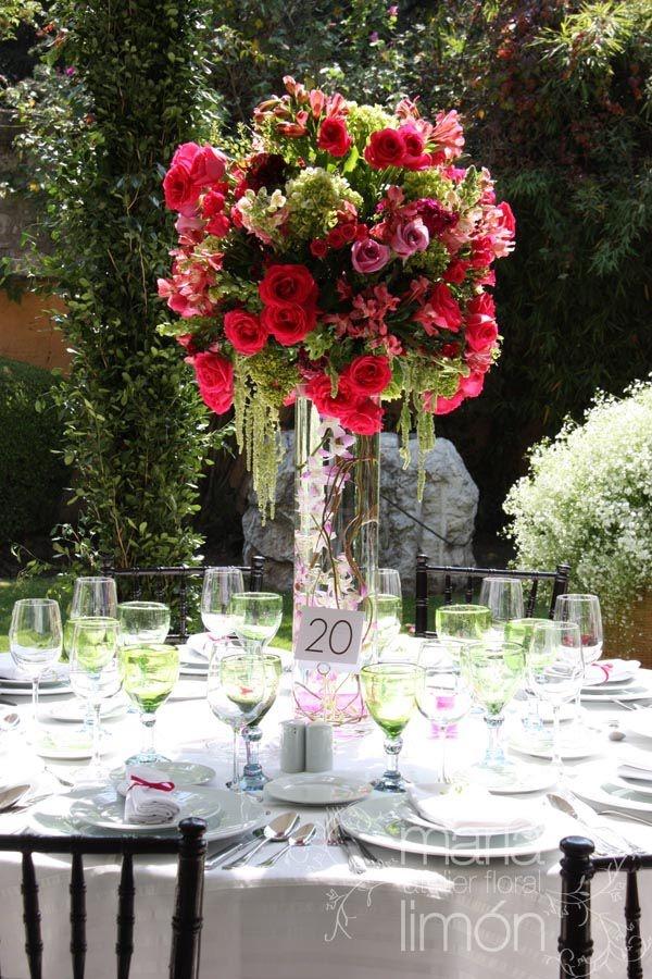 Tall Wedding Arrangement Fucsia Green Centerpiece Flowers