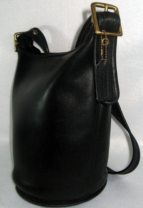 Vintage Coach Black Xtra Large Bucket Bag Tote Shopper