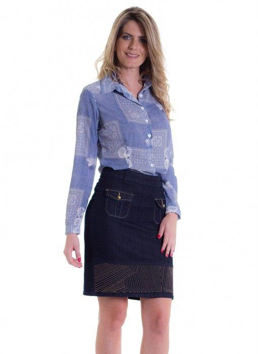 Saia secretaria jeans com bolso frontal