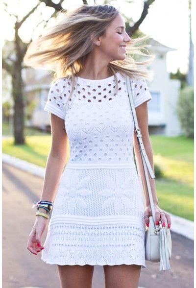 Vestido tricot furinhos acinturado branco | Galeria Tricot - Galeria Tricot
