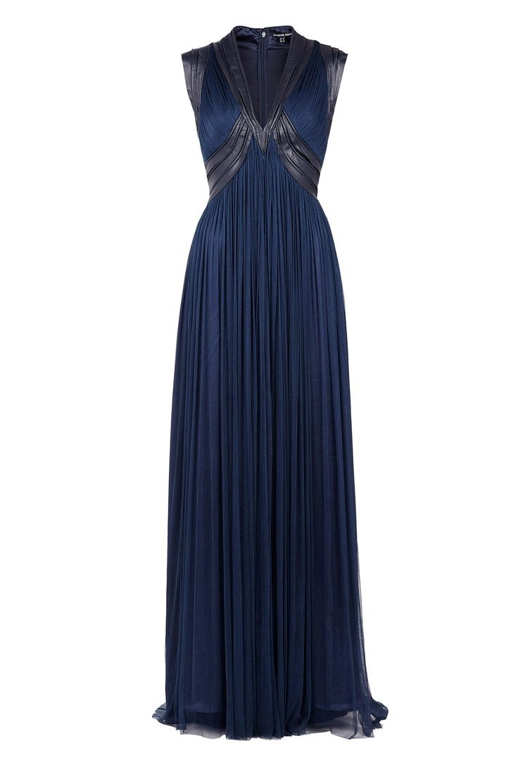 Catherine Deane blue silk tulle and leather pleat dress.