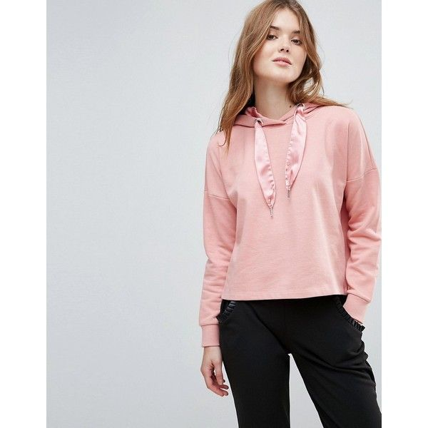 Only Beatrice Sateen Pullers Hoody featuring polyvore, women's fashion, clothing, tops, hoodies, pink, pink hoodie, pink hoodies, vest hoodie, sweatshirt hoodies and urban hoodies
