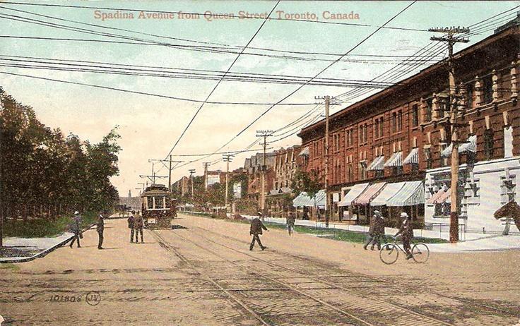 Corner of Queen Street & Spadina Avenue, Toronto, Ontario ca. 1908