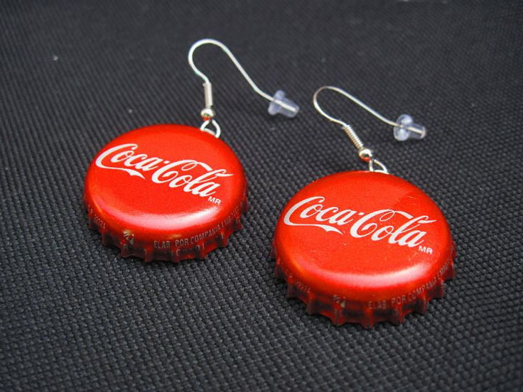 """Or I can buy them at:  Recycled """"Coca Cola"""" Bottle Cap Earrings. $6.00, via Etsy. ;-)"""