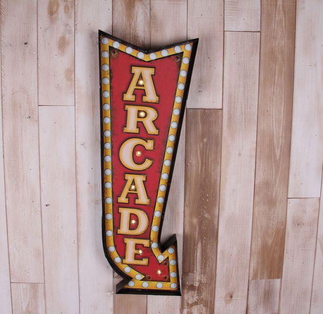 Retro Wrought Iron Arcade Signage Murals Home Decor Artesanato Bar Cafe Decoracion Hogar With LED Decoracion Signs