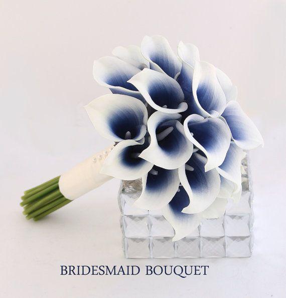 Navy Wedding Flowers Bridesmaid Bouquet Navy Blue by BestForBrides