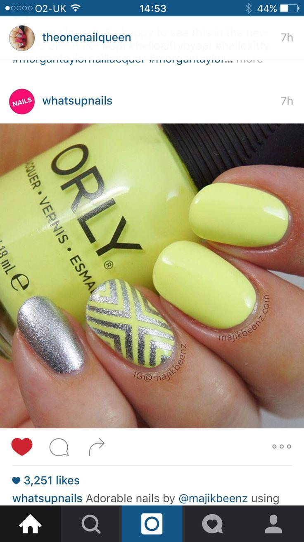 Mejores 155 imágenes de Green and yellow nails en Pinterest | Uñas ...