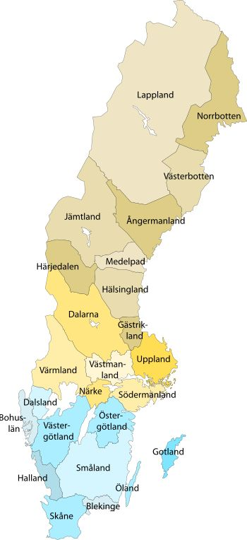 Provinces of Sweden - I live in Västmanland, in a city called Westeros - Västerås.