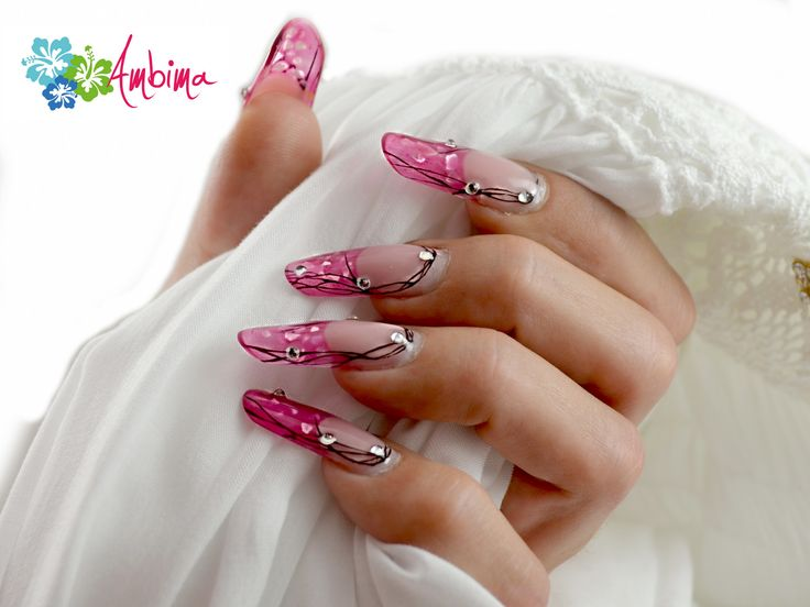 Pink pipe nails with glass gel