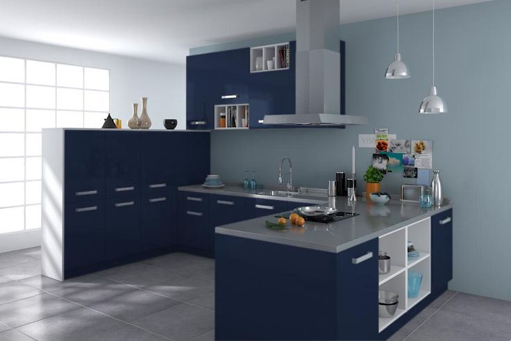 cuisine platine bleu nuit nacre blue pinterest cuisine. Black Bedroom Furniture Sets. Home Design Ideas