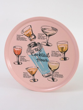 The Cocktail Hour Tray: Superb vintage melamine tray printed with cocktail glasses