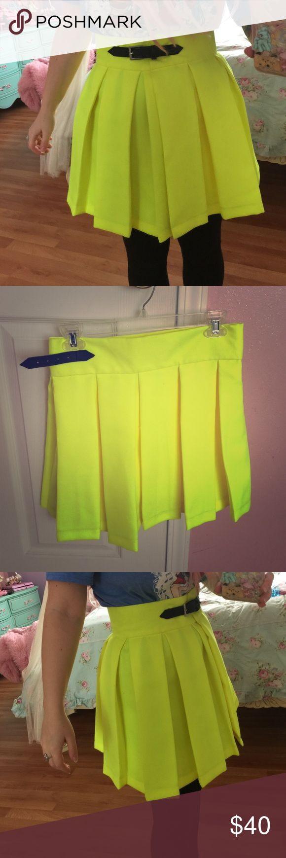 Deandri skirt neon yellow S This was from their sample sale this winter. I don't think this ever went into production so I'm pretty sure it's one of a kind! Brand new. No defects Skirts Midi