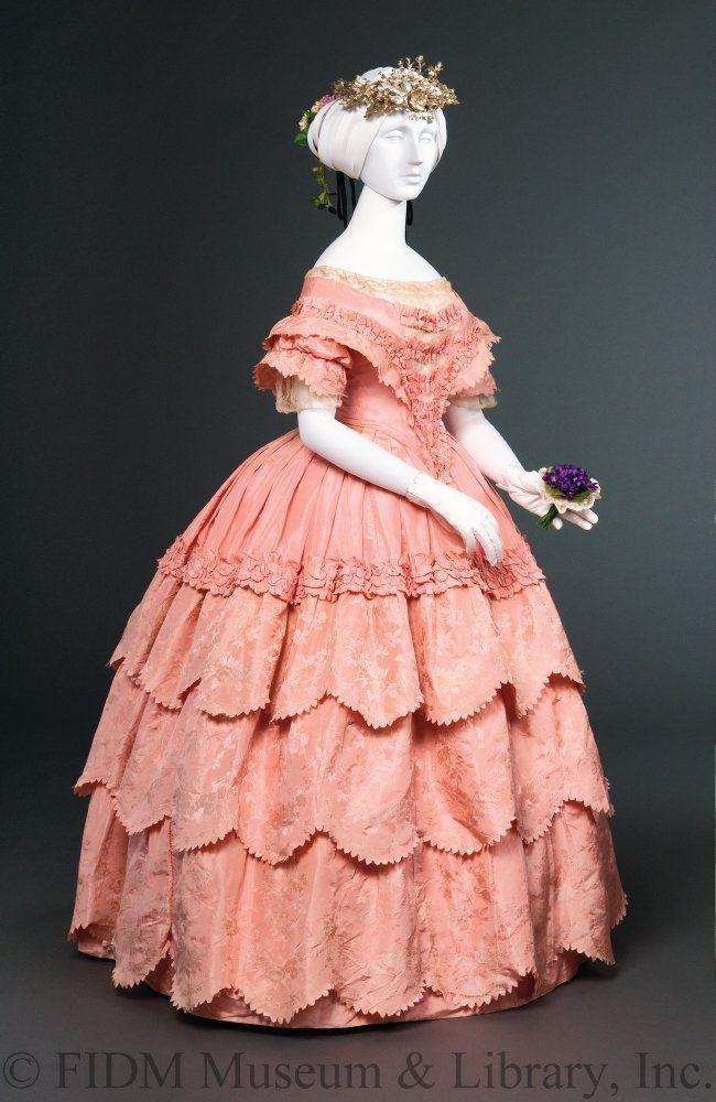 1854-1856 Silk jacquard taffeta evening gown via FIDM.