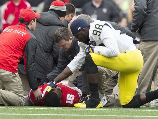 "SO TOUCHING! Michigan's Devin Gardner consoles J.T. Barrett  ""You hate to see any player get hurt but especially a player like him, who's a great guy, a high character guy, hard worker. He's been called upon. He didn't even know he was going to get a shot and he's executed and done it humbly. It's like having a little brother out there and get hurt and I didn't like that at all.  ""I just let him know I'm praying for him and told him to keep praying and everything would be all right."""