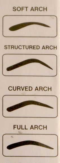 Eyebrow shapes structured arch, all the way.                                                                                                                                                                                 More