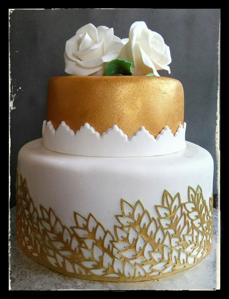 Tarta rosas y oro