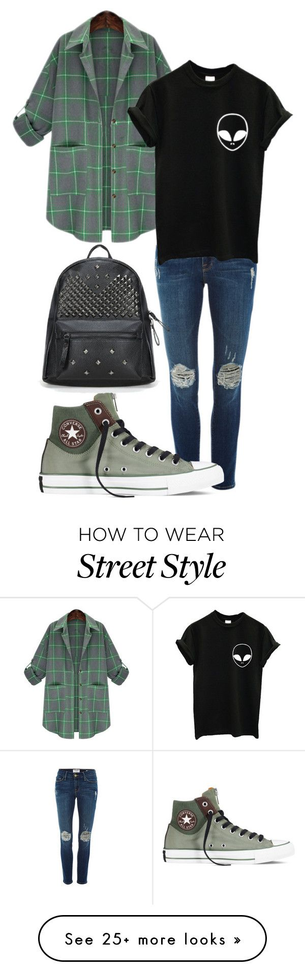 """""""Street style"""" by phanh170102 on Polyvore featuring Frame Denim, Converse, women's clothing, women's fashion, women, female, woman, misses and juniors"""
