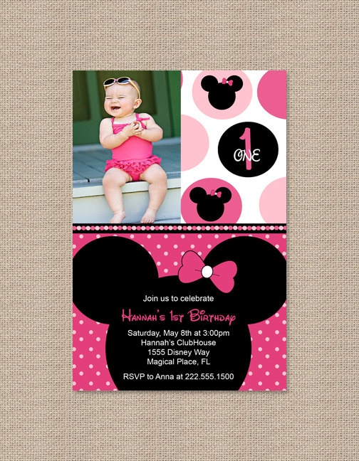 Printable Polka Dot Pink Minnie Mouse Birthday Party Invitations
