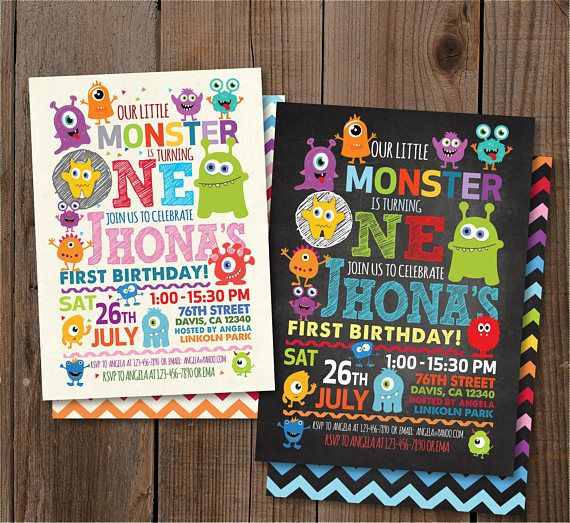 Little Monster Birthday Party Invitation Monster Birthday