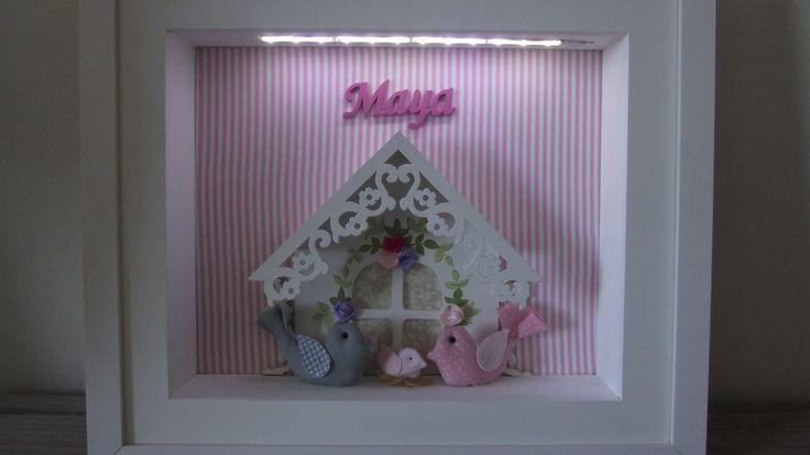 enfeite de maternidade com tema casa de pássaros com iluminação por led  40x35 medidas aproximadas  acabamentos com apliques de tecido, sendo que as cores podem ser alteradas.  molduras podem ser personalizadas.      iluminação a pilha