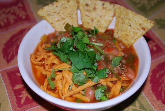 Taco soup with Quinoa   (Kid Tested Firefighter Approved Blog)     This blog has several vegan friendly plant based recipes