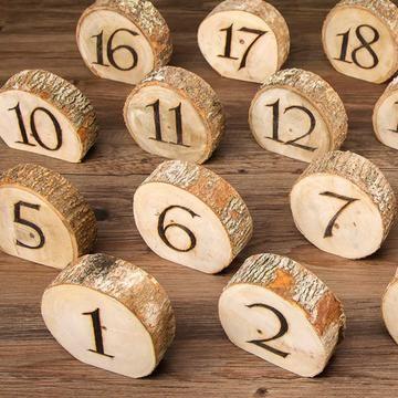 Burnt Wood Slice Table Numbers