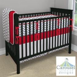 Red and Gray Chevron Crib Bedding My Carousel Designs Custom Baby Bedding