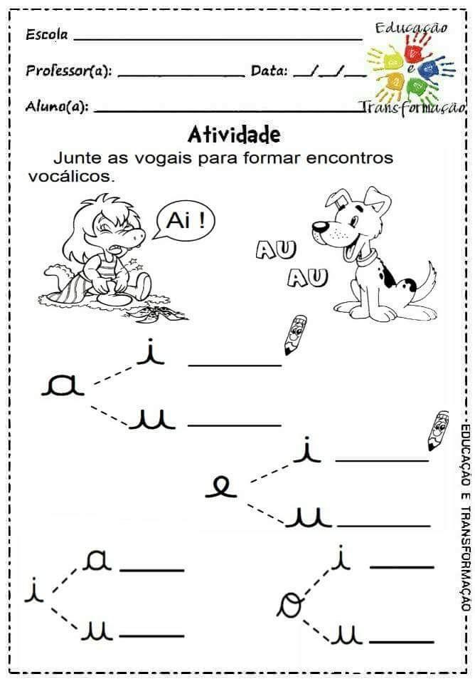Atividades Para Jardim Vogais E Encontros Vocalicos Com Imagens
