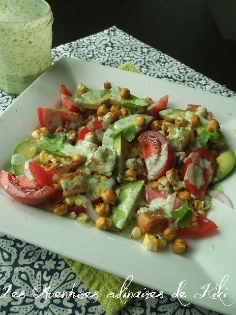 Faits avec amour /Les Aventures culinaires de Kiki: Salade de tomates, d'avocats et de maïs, pois chic...