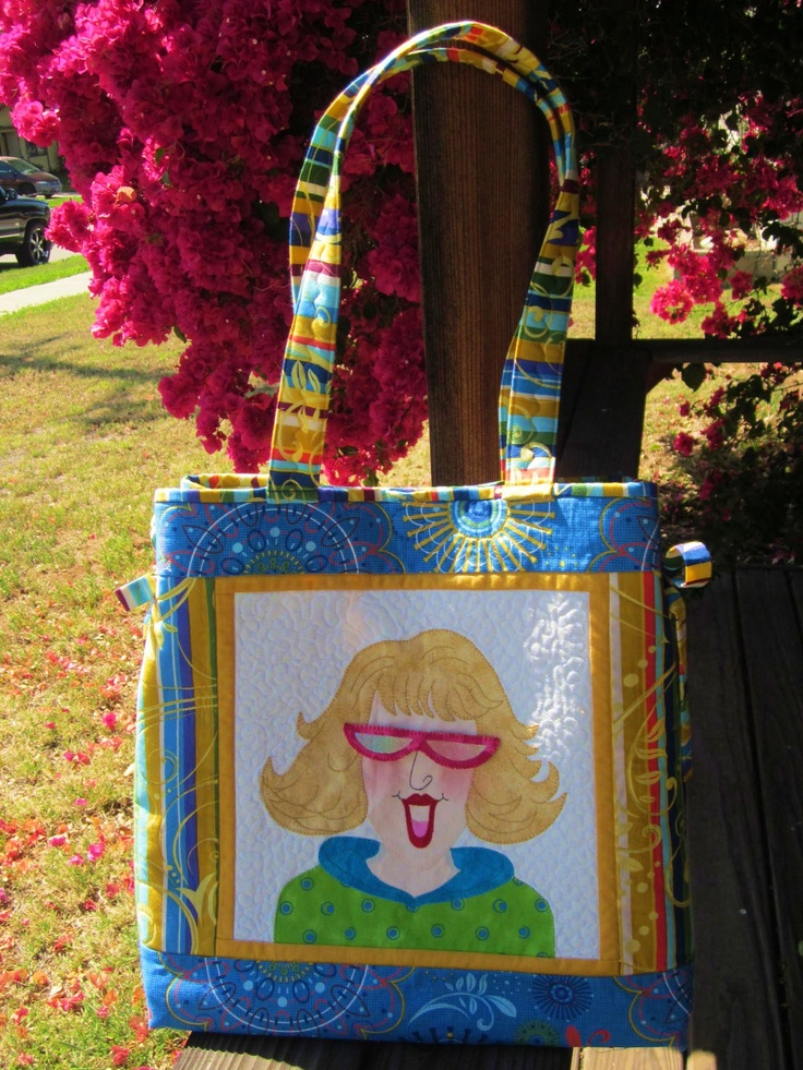 Portrait tote bag with wardrobe of changeable shades for a friend.