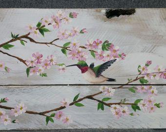 Pallet kunst aan de muur voorjaar bloem bloesem chickadee