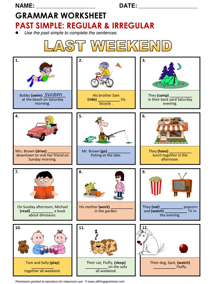 English Grammar Worksheet, Past simple (Regular & Irregular Verbs) http://www.allthingsgrammar.com/past-simple.html