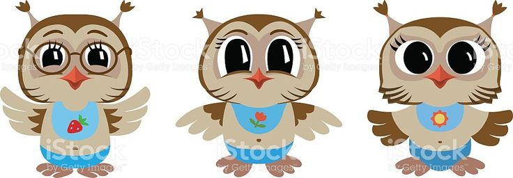 Three cartoon brown owls. Vector illustration. royalty-free stock vector art
