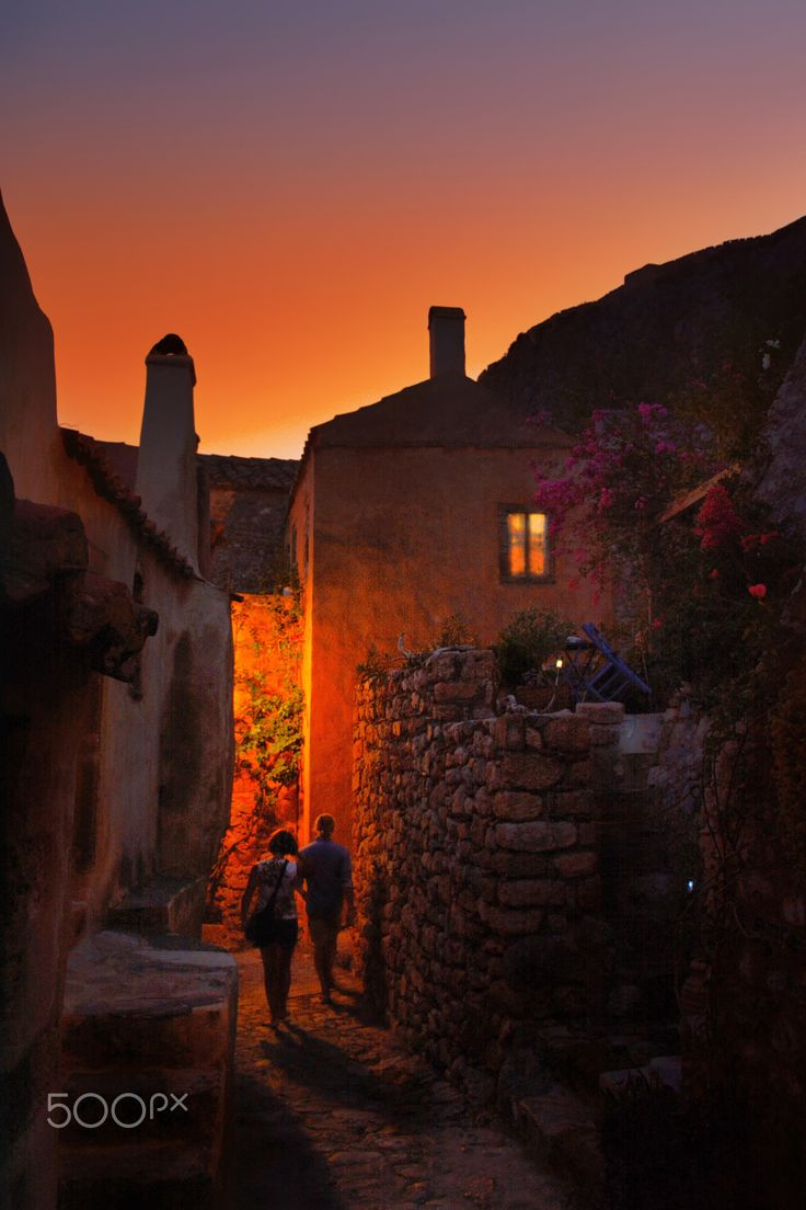 Night in Monemvasia, Greece