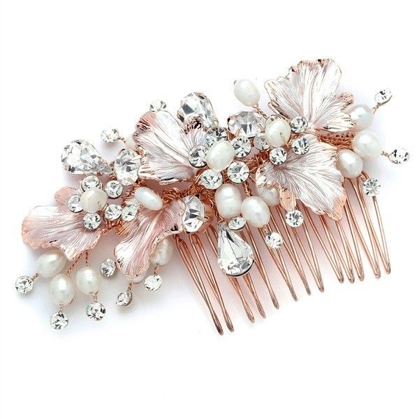 €119 Couture Haircomb Bruidskapsel Haaraccessoire Haarsieraad Bruid Bruiloft Wedding Haarspeld Haarpin Rosegoud Parel Crystal Vintage