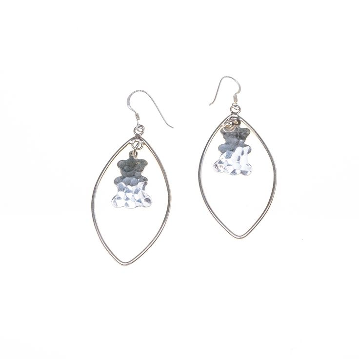 Oval silver earrings with bear charm