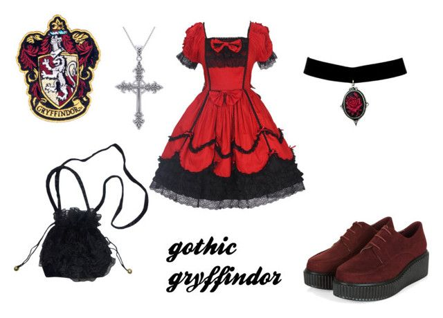 """""""gothic gryffindor girl"""" by marauderslife on Polyvore featuring Carolina Glamour Collection"""