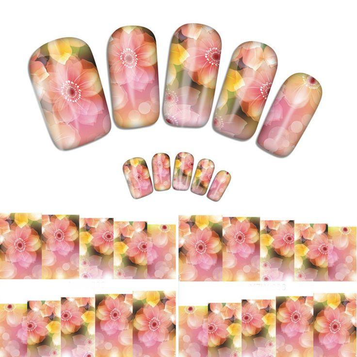 2016 новые стили розовый цветок переноса воды ногтей наклейки кошка и т . д . маникюр декор инструмент покрытие ногтей обертывание дека ( YZW 006 ) купить на AliExpress